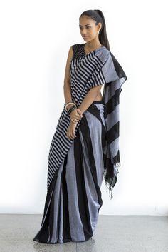 Shadow Lines Saree from FashionMarket. Cotton Sarees Handloom, Cotton Saree Blouse, Saree Dress, Silk Sarees, Sleeveless Blouse, Cotton Saree Designs, Sari Blouse Designs, Indian Bridal Lehenga, Indian Sarees