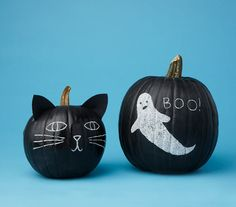 Paint your pumpkins with black chalkboard paint and decorate them with white or colored chalk.