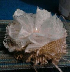 Large Lace and Burlap Flower hair clip on Etsy, $5.00