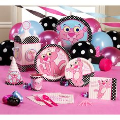 pink panther b-day 1st Birthday Party Supplies, 1st Birthday Themes, 4th Birthday Parties, 1st Birthday Girls, Birthday Cake, Pink Panther Theme, Pink Panter, Baby Girl Shower Themes, Baby Shower