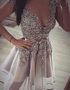 luxurious short deep v-neck beaded cocktail dress