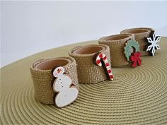 Christmas Napkin rings- cute for kids to make and kids table Christmas Craft Fair, Christmas Love, Christmas Ornaments, Christmas Napkin Rings, Christmas Napkins, Party Decoration, Xmas Decorations, Rustic Napkin Rings, Christmas Table Settings