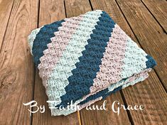Baby Afghan - Toddler Afghan  - Baby Shower Gift -  Antique Teal - Glacier - Light Gray - Baby Blanket -  Crochet Blanket