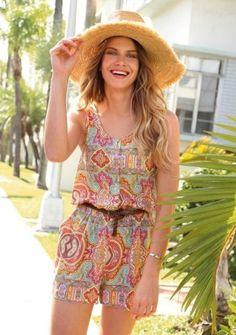 Krátký overal bez rukávů, s potiskem #Modino_cz #coachella #hippie #fashion #style #móda #overal