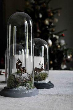 Winter Yule scene with deer under glass cloche Noel Christmas, Little Christmas, Rustic Christmas, Christmas And New Year, All Things Christmas, Winter Christmas, Vintage Christmas, Christmas Crafts, Christmas Scenes