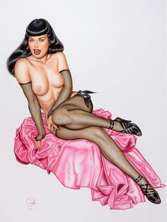 ★ ✯✦⊱ ❤️ ⊰✦✯ ★ BETTY PAGE~Lingerie Illustration by Artist Olivia De Berardinis ★ ✯✦⊱ ❤️ ⊰✦✯ ★