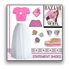 """""""Statement Shoes - Maxi Skirt - Pink White Grey - Evangelos Jewellery"""" by evanangel ❤ liked on Polyvore featuring Prada, Miss Selfridge, Feather.M, Bela, Fendi, Bobbi Brown Cosmetics and Chicwish"""