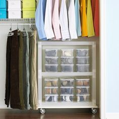 Organize Now- Mobile Shoe Storage Unit:   An easy-to-spot shoemobile you can customize to store and roll anywhere.   How to make it: Keep every pair of shoes together in clear containers and place on shelves with easy-to-attach wheels.