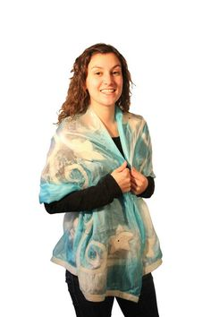 Crafted from Merino Wool and Handspun Silk, Felted Silk Scarves are made exclusively from natural fibers.Silk and Wool are felted into a scarf which fee. Spotlights, Silk Scarves, Ss16, Merino Wool, Kimono Top, Elegant, Collection, Tops, Women