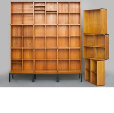 Kai Kristiansen; Teak and Enameled Metal Modular Shelving for Aksel Kjaersgaard, 1960s.