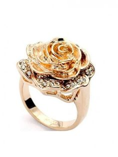Elegant Noble Champagne Color Beautiful Rose Shaped Diamond Ring