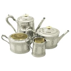 For Sale on - A fine and impressive antique Victorian English sterling silver four-piece tea and coffee service; an addition to our silver teaware collection. This fine Coffee Service, Tea Service, Victorian Tea Sets, Victorian Era, Silver Tea Set, Vintage Tea, Vintage Style, Coffee Set, Antique Silver