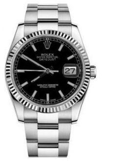 Rolex Datejust Steel and White Gold Black Stick Dial 36mm Watch