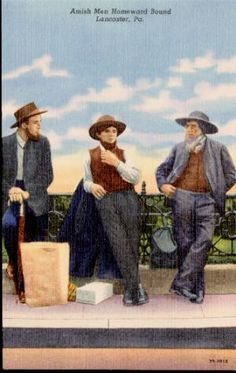 Vintage postcard from Lancaster, PA , featuring Amish men.
