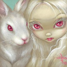 Faces of Faery 100 albino white rabbit bunny big by strangeling, $13.99