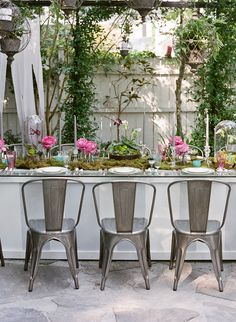 Metal Chairs And Customized Dining Table Ooh Events Charleston SC Garden