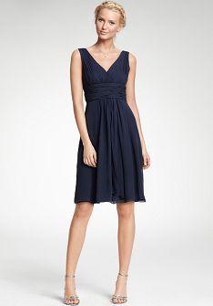 V-Neck Short Length Silk Georgette Bridemaid Dress Style BD81169