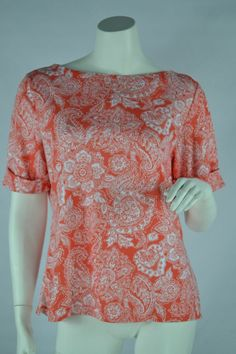 Karen Scott Boat Neck Knit Top Short Sleeve Coral Paisley Floral Petite Large #KarenScott #KnitTop #Casual