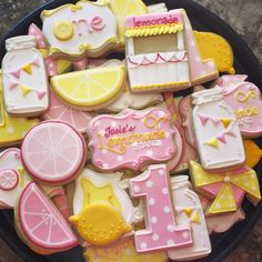 New ideas cupcakes decoration summer pink lemonade Pink Lemonade Pie, Pink Lemonade Cookies, Iced Cookies, Cute Cookies, Girl Birthday Themes, Birthday Ideas, 2nd Birthday, Lemon Party, Summer Cookies