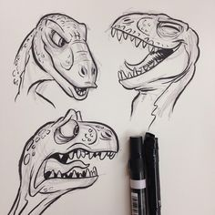 More #dinosaur #breaksketch #brushpen #tyrannosaurus #trex #tyrannosaurusrex #cartoon