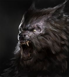 The dark and macabre fantasy paintings of digital artist Antonio José Manzanedo (previously), a concept designer and illustrator based in Spain. Dark Fantasy Art, Dark Art, Fantasy Creatures, Mythical Creatures, Wolf Hybrid, Werewolf Art, Werewolf Tattoo, Wolf Artwork, Vampires And Werewolves