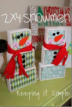 Keeping it Simple: 2x4 Snowmen