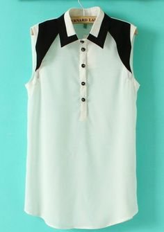 White and Black Sleeveless Lapel Chiffon Blouse pictures