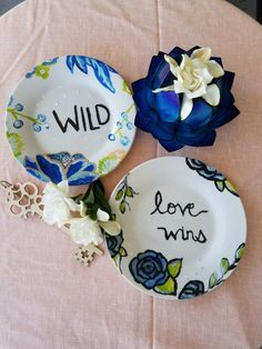 ceramic hand  painted plate  Love Wins  by RootinForYourLife  etsy.com/shop/RootinForYourLife