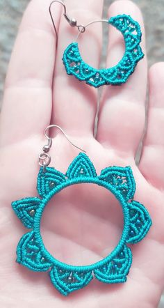 Micromacrame earrings teal small hoop and large hoop flower - each has a pair, shown together for comparison on scale