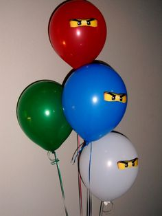 Ninjago Birthday Party - balloons with eyes