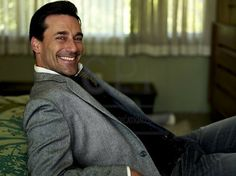 Jon Hamm as Don Draper - disclaimer: I don't respect cheating, as the Mad-Men-Don-Draper character does... the take away from this picture: Jon Hamm is incredibly hot and I love the style of clothes from the 60s on Mad Men for men & women.