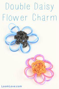 How to Make a Rainbow Loom Double Daisy Flower Charm #rainbowloom #monstertail
