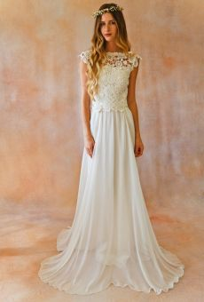 Dreams and Lovers boho wedding dress. 2-piece-boho-wedding-skirt-and-lace-crochet-top-with-plunging-back