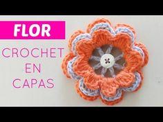 Flores de crochet en capas - YouTube