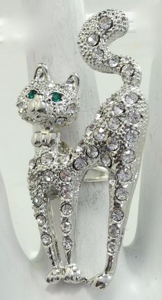 Cat Kitten Diamante Rhinestone Brooch Pin /& Velvet Bag