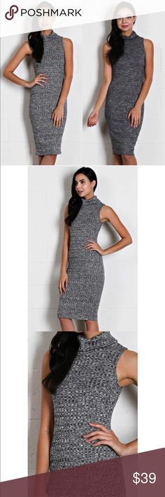 Ribbed Turtleneck Dress Beautiful! Ribbed heather knit turtle neck midi dress. 68% polyester 28% rayon 4% spandex. Dresses