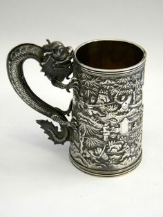 ANTIQUE CHINESE SOLID SILVER CHILD'S CHRISTENING MUG CHINA c. 1880 (China)