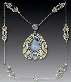 Necklace | Tiffany Studios.  Gold Plique-à-jour enamel Opal. c. 1902 ~ Art Nouveau
