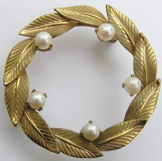 Vintage Carl Art Faux Pearl Gold Filled Leaf Brooch Pin 1/20 12K #CarlArt
