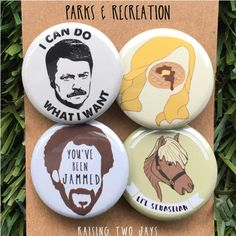 """Parks and Recreation Pins - Buttons or Magnets, Ron Swanson, Leslie Knope, Lil' Sebastian, Parks and Rec, Pawnee,Gifts Under 25, 1"""" or 1.25"""" by RaisingTwoJays on Etsy https://www.etsy.com/listing/476497587/parks-and-recreation-pins-buttons-or"""