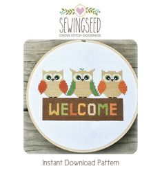 Owl Welcome Cross Stitch Pattern Instant Download by Sewingseed, $5.00