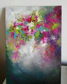 30×21cm Acrylic abstract florals on hardboard By Nurten Koçboğan