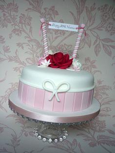 Pink, white & red 80th birthday cake