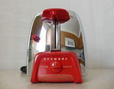 Vintage 50s Retro Mid Century Kenmore Art Deco Chrome Toaster Red Handles
