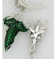 The Hobbit SET silver long Elven Leaf Pendant Arwen Evenstar Pendant necklace