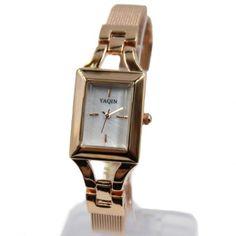 FW945A New Rectangular Rose Gold + PNP Watchcase White Dial Women Bracelet Watch