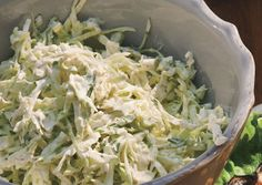 Creamy Cilantro Lime Slaw... I've made this, and this slaw is absolutely delicious!  Possibly my favorite side dish ever.  I prefer to leave out the serrano chile though, since I'm not one for spicy food.