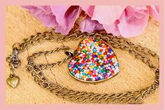 Candy  Sprinkle Heart Necklace Filled Resin 16mm by tranquilityy