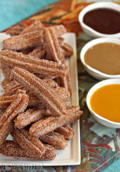 Homemade Churros With 3 Dipping Sauces: Spicy Chocolate, Dulce de Leche, and Mango - SugarHero