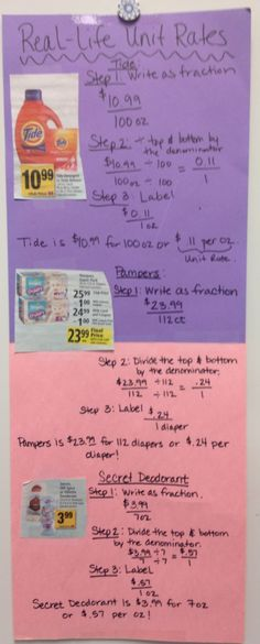 Real-life Unit Rate Activity for middle school math broken down step-by-step. Reinforces procedure to find the unit rate of three student chosen items from any grocery store advertisement. Students love unit rates because of the relevancy!